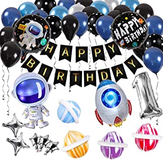 Innoo Tech Space Party Supplies - Outer Space Party Decorations Solar System Happy Birthday Banner Rocket Balloons Astrona...
