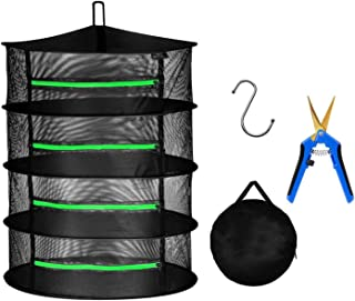 iPower 2ft 4-Layer Hanging Herb Mesh Rack Foldable Drying Net with Zippers Heavy Duty Ring, Free Storage Bag, Hook and 6....
