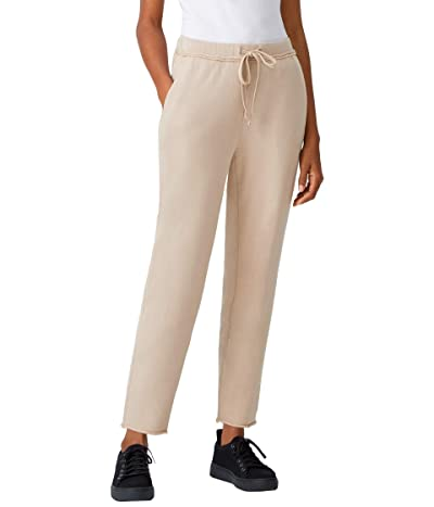 Eileen Fisher Organic Cotton French Terry Ankle Track Pants (Khaki) Women
