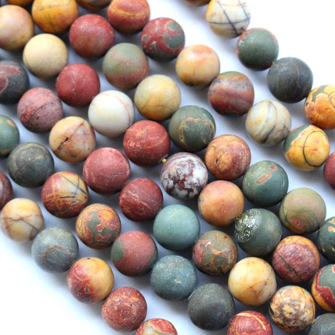 Natural Frosted Unpolished Genuine Picasso Jasper Round Gemstone Jewelry Making Loose Beads (Colorful 8mm)
