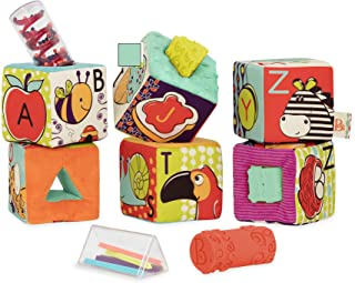 B. toys by Battat ABC Block Party Baby Blocks – Soft Fabric Building Blocks for Toddlers – Educational Alphabet Blocks wit...
