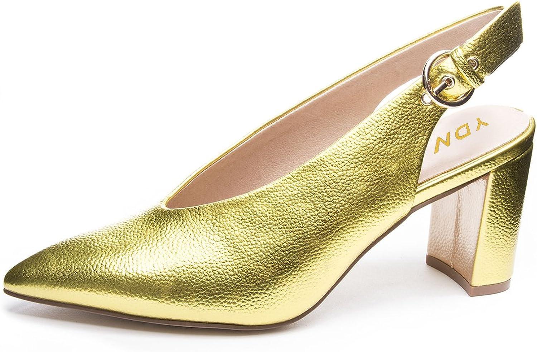 YDN Women Pointed Toe Slip on Slingback Pumps Chunky High Heels Slide Mules V-Cut shoes