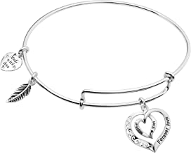 925 Sterling Silver Mother Son Forever Love Heart Feather Dangle Charm Adjustable Wire Bangle Bracelet