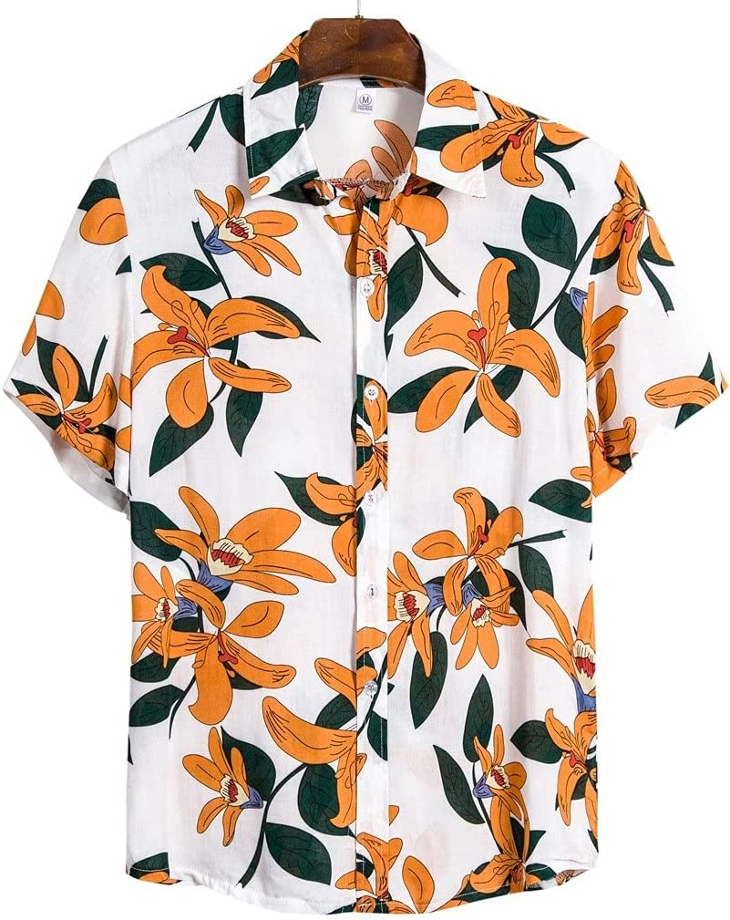 XJJZS Mens Ethnic Short Safety and Ranking integrated 1st place trust Sleeve Cotton Linen Hawaiian S Print Men