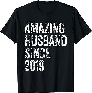 Amazing Husband Since 2019 1 Year Wedding Anniversary Gift T-Shirt