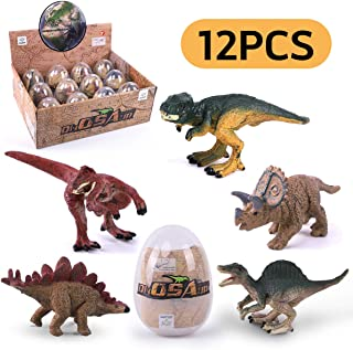 GILOBABY Dinosaur Eggs Novelty Magic Dino Egg with Dinosaur Figures Educational Toys Dinosaur Party Favors Easter Basket Fillers for Kids Boys & Girls Age 3+ (12 Pcs)