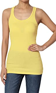 S~3XL Sporty Casual Basic Racerback Ribbed Cotton Spandex Tank Top