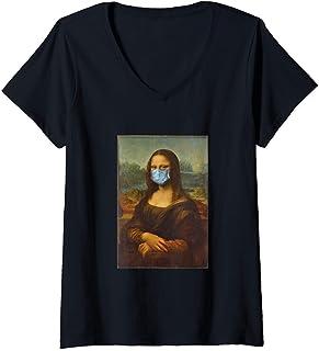 Femme Funny Mona Lisa Face Mask T-Shirt avec Col en V
