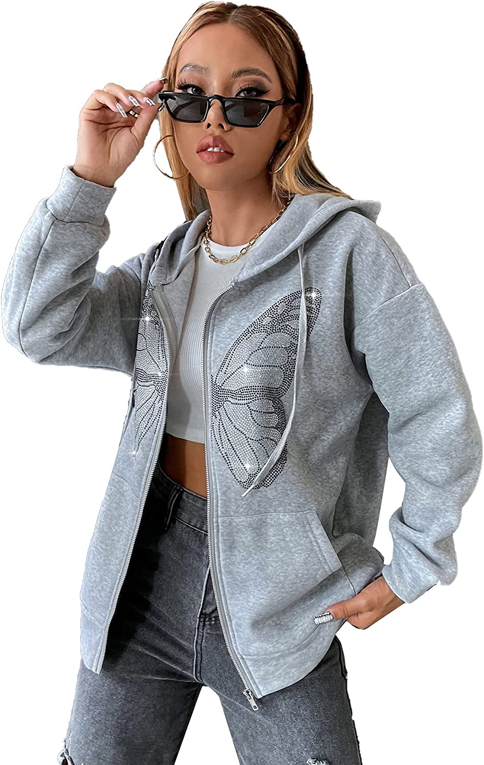 MAKEMECHIC Women's Butterfly Print Drop Shoulder Zip Up Hoodie with Pockets