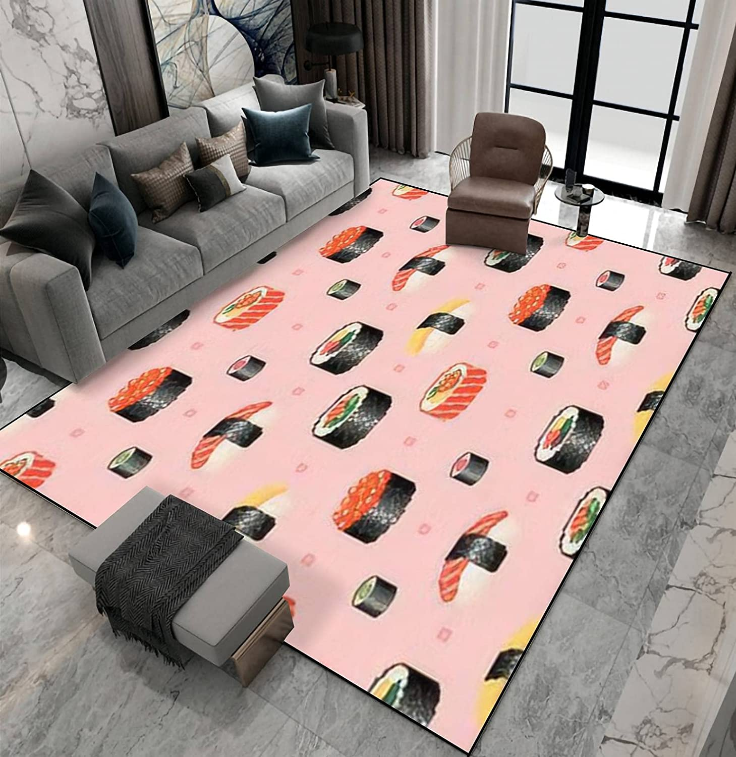 Area Rug Cheap mail order specialty store Non-Slip Floor Mat Pixel Pattern Art Seamless Pix Sushi Time sale