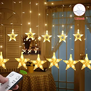 Teletrogy 108 LED 12 Stars Window Curtain String Lights with Remote and Timer 8 Flashing Modes Linkable Curtain Star Fairy Lights Decoration Lights for Indoor Outdoor Christmas Wedding Warm White