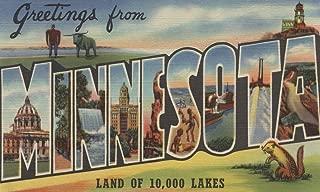 Greetings from Minnesota (Lighthouse) - Vintage Halftone (12x18 Art Print, Wall Decor Travel Poster)