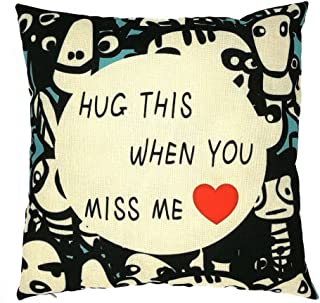 White and Black Decorative Holiday Throw Pillow Covers Hug This When You Miss Me Gift for Her Romantic Cute Woven Accent Cotton Square Cushion Case Little Animas Sofa Couch Toss Pillowcase 18X18 Inch