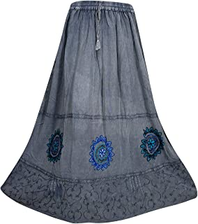Mogul Interior Womens Blue Maxi Skirt Embroidered Enzyme Wash Bohemian Flare Skirt S/M
