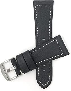 Mens Leather Watch Band Strap, Buffalo Pattern, Stainless Steel Buckle, 2 Colors (20mm, 22mm, 24mm, 26mm 28mm, 30mm, 32mm)