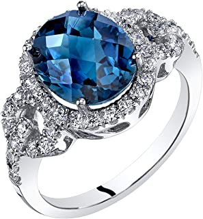 14K White Gold London Blue Topaz Ring Oval Checkerboard Cut 3.00 Carats Sizes 5-9