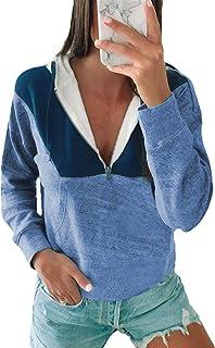 Angashion Hoodies- V Neck Color Block Cropped Half Zip Up Drawstring Sweatshirt Pullover Tops with Pocket
