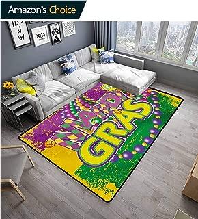 Mardi Gras Home Bedroom Carpet Floor Mat, Grunge Background with Colors Vivid Beads Vintage Letters Joyful Print Easy Maintenance Area Rug Living Room Bedroom Carpet, (2'x 3') Purple Green Yellow