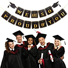 Graduation Banner We Are So Proud of You Banner Graduation Party Garland Supplies for Grad Party Home Decoration Favors, Black and Gold