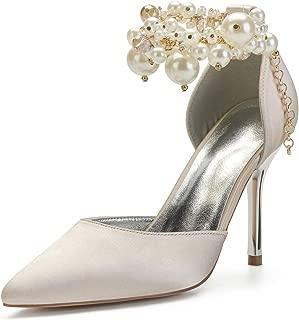 Taille 3 4 5 6 7 Blanc ou Ivoire Satin Strass Haut Compensé Mariage Occasion Chaussures