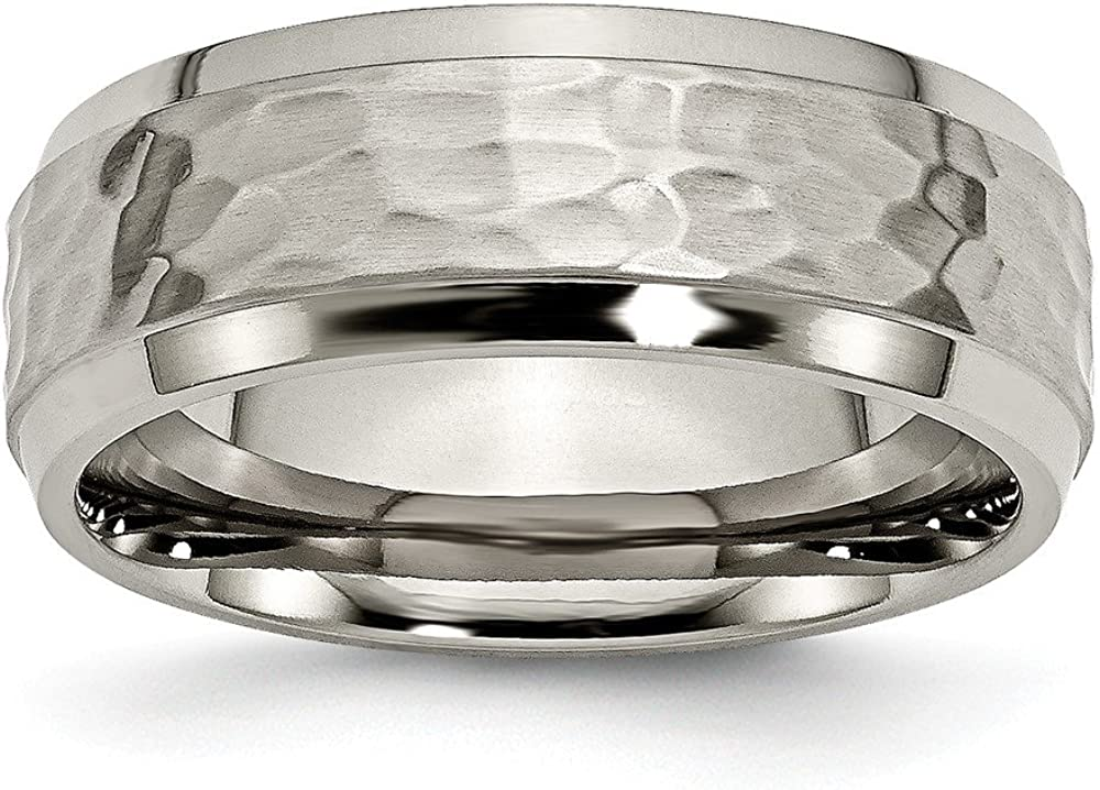 Solid Titanium 8mm Men's Beveled Edge, Hammered and Wedding Band Ring Comfort-Fit