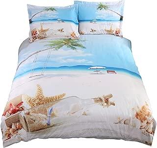 Lebather Pretty Beach and Seashell in Blue Sky Cotton 4 Peice Duvet Cover Set 3D Print Bedding 2 Pillowcase 1 Flat Sheet 1 Duvet Cover,Queen