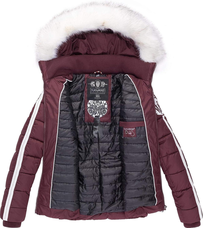 Navahoo Khingas XS-XL Chaqueta de invierno acolchada para mujer con piel sint/ética extra/íble