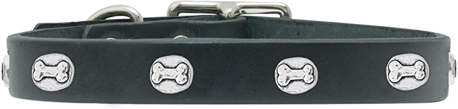 product image for Rockin Doggie Bone Rivet Veg Leather Dog Collar, 1/2 by 8-Inch, Black