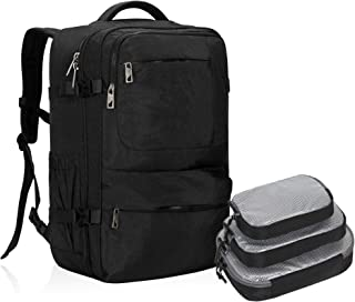 Hynes Eagle 44L Carry on Backpack Flight Approved Compression Travel Pack Cabin Bag, Black with Black 3PCS Packing Cubes 2019 (Black) - HE0828-7PC