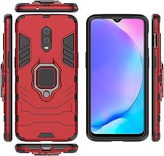 جراب QiongNi لهاتف OnePlus 7 GM1901 GM1903 / OnePlus 6T A6010 A6013، حامل حلقي دوار 360 درجة مع حامل سيارة مغناطيسي أحمر