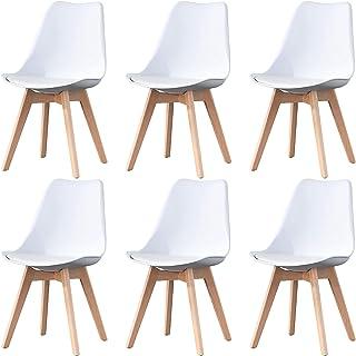 Ensemble de chaises de Salle à Manger Modernes du Milieu du siècle de 6 chaises de Cuisine Blanches rembourrées avec Pied ...