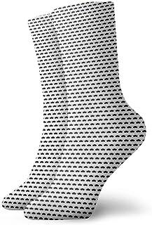 口ひげブラックホワイトファッショナブルなカラフルなファンキー柄コットンドレスソックス11.8インチ