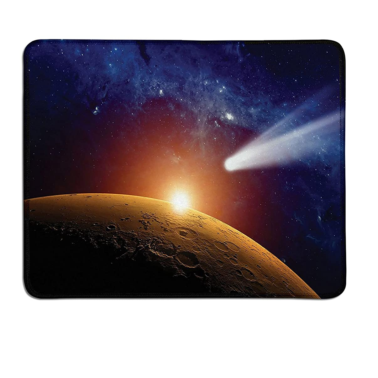 Outer Space personalized mouse pad Comet Tail Approaching Planet Mars Fantastic Cosmos Dark Solar System Scenerydrawing mouse pad Bue Orange