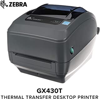 Zebra - GX430t Thermal Transfer Desktop Printer for Labels, Receipts, Barcodes, Tags, and Wrist Bands - Print Width of 4 in - USB, Serial, Parallel, and Ethernet Connectivity