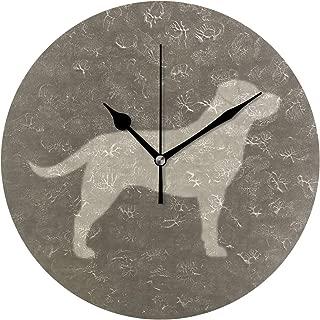MIKA 置き時計 掛け置き両用 卓上 時計 おしゃれ 壁掛け時計 モダン アート インテリア ウォールクロック 壁時計 新生活 置時計・掛け時計 黄色いラブラドール シルエット| フェイク リネンスタイル