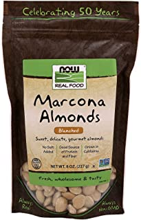 NOW Foods, Marcona Almonds, Gourmet Blanched Almonds, Sweet and Delicate, Source of Protein and Fiber, Grown in California...