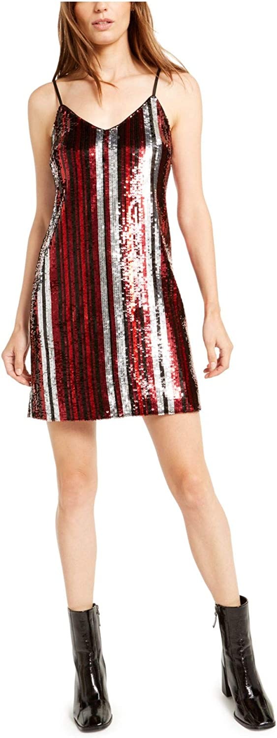 Bar III Womens Sequined Stripe Cocktail Dress Red XS