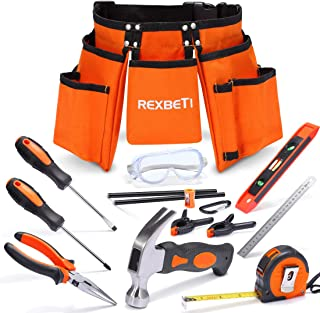 """REXBETI 15pcs Young Builder`s Tool Set with Real Hand Tools, Reinforced Kids Tool Belt, Waist 20""""-32"""", Kids Learning Tool Kit for Home DIY and Woodworking"""