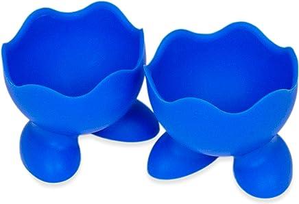 Preisvergleich für 2er Set Silikon-Eierbecher mit Füßen, Robuste Form, Frühstückseier, Brunch und Abendessen, eggcup, Eierkocher, rutschfestes Material, spülmaschinengeeignet, Comic- Design, Farbe: Blau