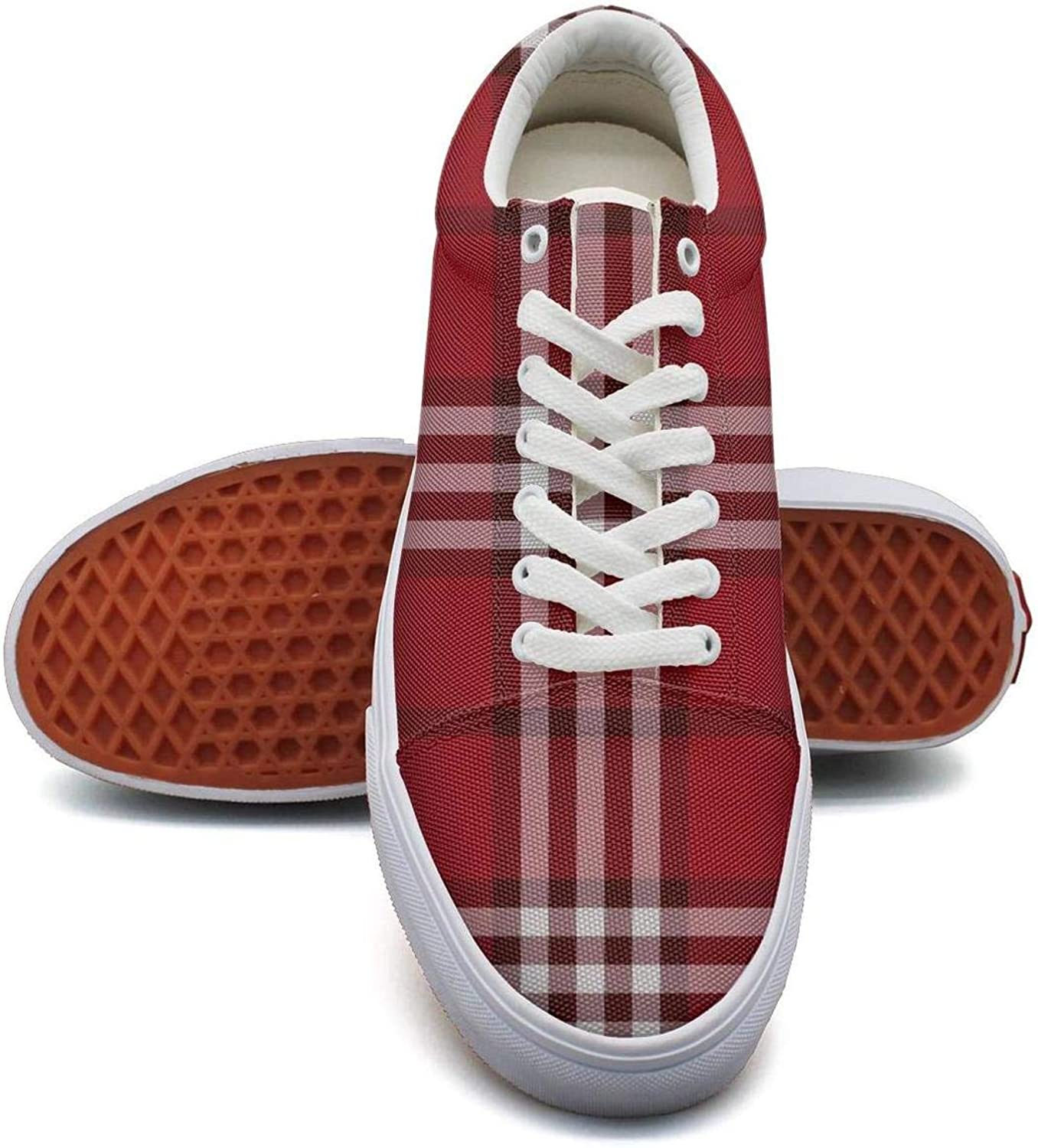 KSOWE3KD Woman Mens' Microfiber Flat shoes White Lattice Red Checkerboard Print Unisex Cushion shoes