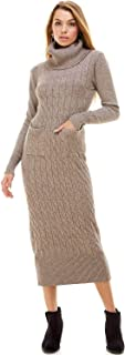 Alexander + David A+D Womens Cable Turtleneck Sweater Dress - Knit Detail Long Midi