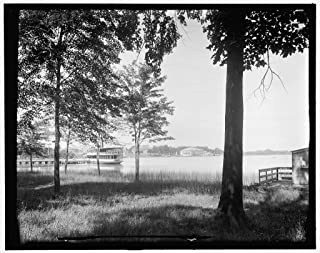 Vintography 8 x 10 Ready to Frame Pro Photo of Reed's Lake Lakeside Club in Distance East Grand Rapids Mich 1913 Detriot Publishing 04a