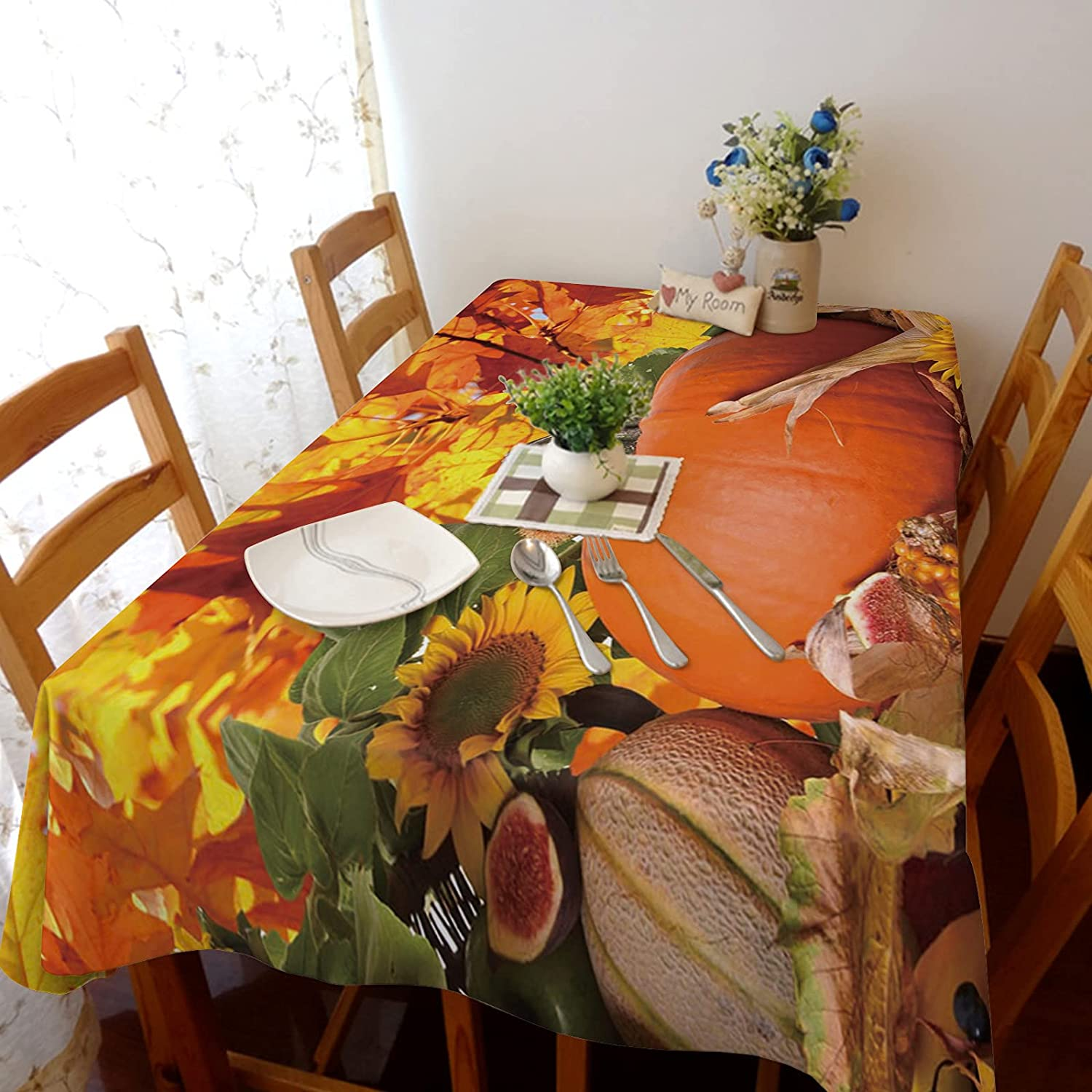 TH XHome Max 60% OFF Direct stock discount Tablecloth Linen Burlap L Maple Pumpkin Weights Fabric