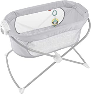 Fisher-Price Calmante View Vibe Cuna - Cuna plegable portátil para recién nacidos y bebés, color gris