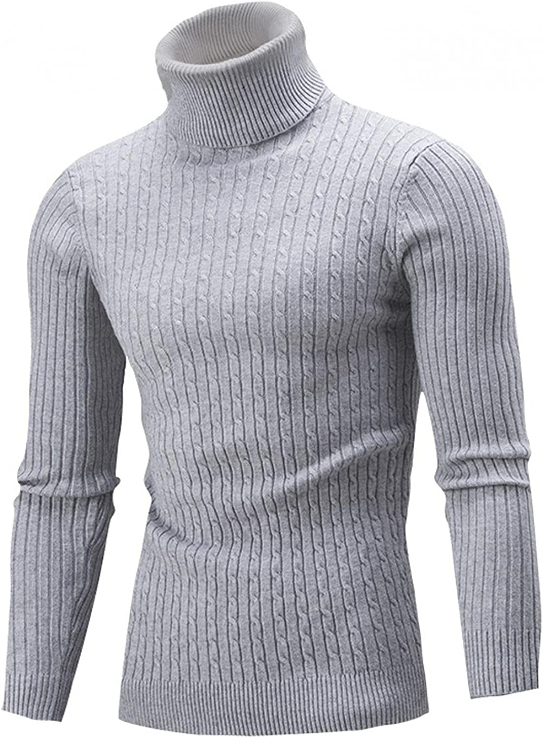 KEEYO Mens Casual Slim Fit Turtleneck Pullover Sweaters Long Sleeve Knit Tops Winter Warm Twisted Knitted Thermal Tops