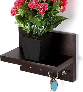 Bluewud Skywood Wall Mounted Key Holder/Key Rack Hooks with Decor Shelf (Wenge, 5 Keys, with Shelf)