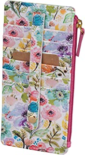 Buxton Womens Leather 3 in 1 Thin Credit Card Case Wallet / Change Purse / Id Holder (Petite Floral)