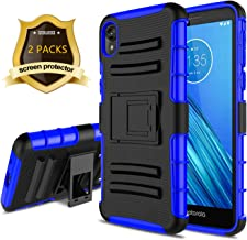 SINTIA for Moto E6 Case, Moto E 6th Gen Case with Screen Protector/Built-in Kickstand [Hybrid Dual Layer][Shockproof Bumper] Protective Phone Case for Motorola Moto E6 (5.5