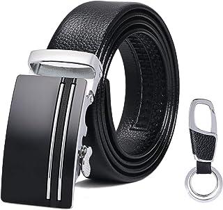 flintronic Cintura da Uomo in Pelle con Fibbia Automatica, Moda Cintura a Cricchetto 3.5cm * 130cm, con Portachiavi e Conf...