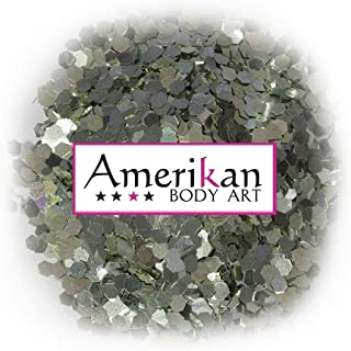 """Amerikan Body Art Biodegradable Glitter - Jade Green (.062"""" Hex), Cosmetic Glitter for face, body and hair - 1 oz bag"""